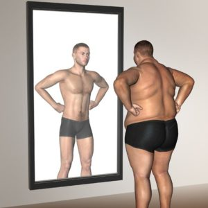 34884138 - human man fat and slim concept in mirror for health or sport